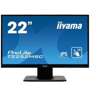 "Монитор Iiyama T2252MSC-B1, 21.5"" (54.61 cm) IPS touch панел, Full HD, 7ms, 5M:1, 250 cd/m2, DisplayPort, HDMI, VGA  image"