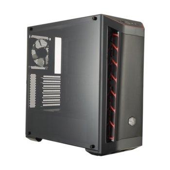 Кутия CoolerMaster MasterBox MB511 RED TRIM, ATX/microATX/Mini-ITX, 2x USB 3.0, прозорец, черна, без захранване image