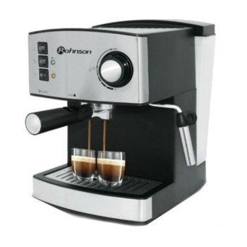 Ръчна еспресо машина Rohnson R 972, 850W, 15 bar, двоен филтър от неръждаема стомана за перфектен каймак, дюза за капучино, сребриста image