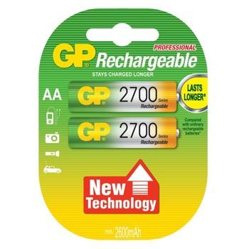 Акумулаторна батерия, GP, R6, AA, 1.20V, 2700mAh, NiMH, 2 бр image