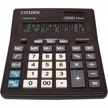Калкулатор Citizen CMB-1201BK, 12-цифрен едноредов LCD дисплей, настолен, корен квадратен, десетичен селектор, закръглящ селектор, функция на паметта с 4 клавиша: MR, MC, M +, M-, автоматично изключване, черен image