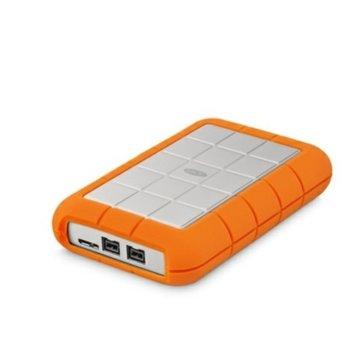 """Твърд диск 1TB, LaCie Rugged Triple FW800, външен, 2.5"""" (6.35 cm), FireWire 800, USB 3.0, оранжев image"""