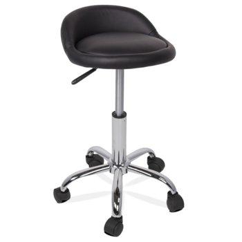 Бар стол Carmen 3067, с колелца, хромирана база, еко кожа, газов амортисьор за регулиране на височината, черен image
