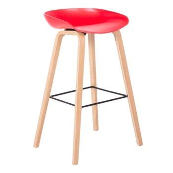 Бар стол Carmen 3078, полпропилен, букова основа, червен image