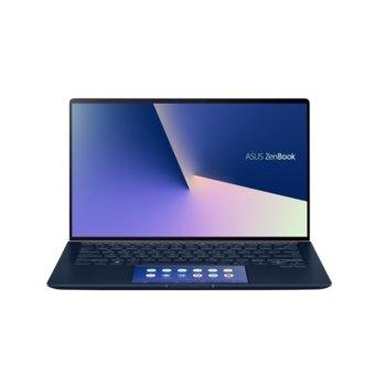 """Лаптоп Asus ZenBook 14 UX434FQC-WB501R (90NB0RM3-M01010), четириядрен Comet Lake Intel Core i5-10210U 1.6/4.2 GHz, 14.0"""" (35.56 cm) Full HD Touchscreen Glare Display & GF MX350 2GB, (HDMI), 8GB, 512GB SSD, 1x USB 3.1 Type C, Windows 10 Pro image"""