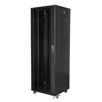 """Комуникационен шкаф Lanberg FF01-6637-12B, 19"""", 37U, 600 x 600 x 1826, стъклена врата, черен image"""