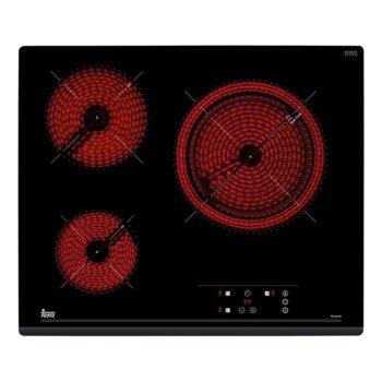 Стъклокерамичен плот за вграждане Teka TZ 6315, 3 нагревателни зони, автоматично изключване за безопастност, независимо програмиране на всяка зона, индикатор за остатъчна топлина, таймер, черен image