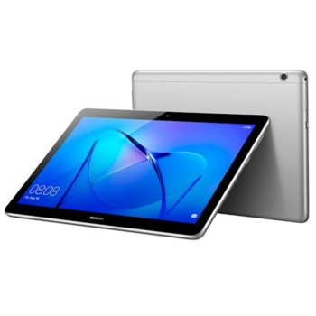 """Таблет Huawei Mediapad T3 (сив), LTE, 9.6"""" (24.38 cm) WXGA IPS дисплей, четириядрен Qualcomm MSM8917 A53 1.4GHz, 2GB RAM, 16GB Flash памет (+ microSD слот), 5.0 & 2.0 Mpix камера, Android 7.0 Nougat, 460g image"""