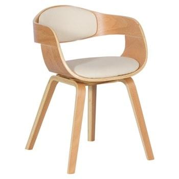 Трапезен стол Carmen 9974, до 120кг. макс. тегло, бук, еко кожа/дърво, дървена база, крем image