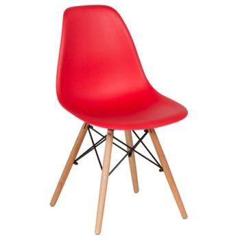 Трапезен стол Carmen 9957, крака от бук и метални подсилващи елементи, червен image