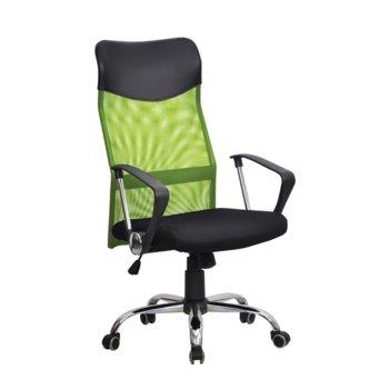 Директорски стол Monti HB, дамаска, екокожа и меш, черна седалка, светлозелена облегалка image