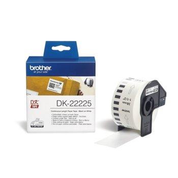 Лента за етикетен принтер Brother DK-22225, черно върху бяло, 38mm x 30.48m image
