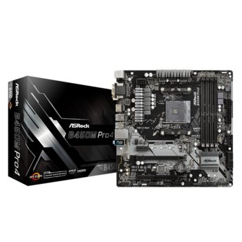 Дънна платка AsRock B450M Pro4, B450, АМ4, DDR4, PCI-E, (DVI-D&HDMI&VGA), CFX, 4x SATA 6Gb/s, 2x M.2 socket, 2x USB 3.1 Gen 2 Type C, Micro ATX image