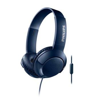 Слушалки Philips SHL3075BL, микрофон, 3.5 mm жак, сини image