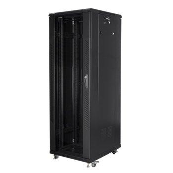 """Комуникационен шкаф Lanberg FF01-6837-12B, 19"""", 37U, 600 x 800 x 1826, стъклена врата, черен image"""