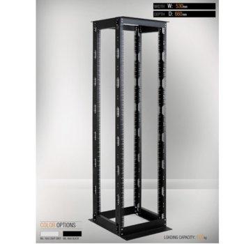 Комуникационен шкаф MIRSAN MR.OPR42UDF66.01, OPEN RACK DOUBLE FRAME, 535 x 660 x 2000 мм, D=660 мм / 42U, отворен, черен image