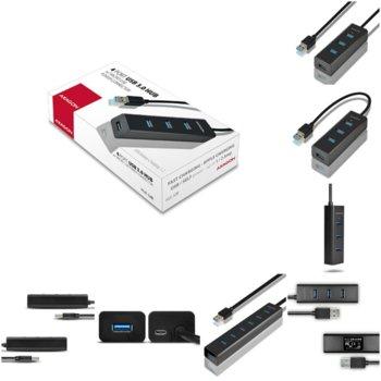 USB Хъб AXAGON HUE-S2B, от USB 3.0(м) към 4x USB 3.0(м), черен image