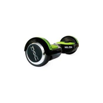Ховърборд Nilox DOC Black, до 10км/ч скорост, 20км макс. пробег, до 100кг, 2x 240W двигатели, черен-зелен image