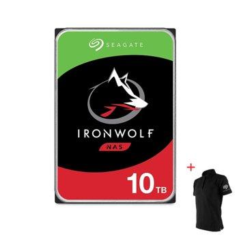 """Твърд диск 10TB Seagate IronWolf NAS ST10000VN0008 с подарък тениска Seagate, SATA 6Gb/s, 7200 rpm, 256MB кеш, 3.5"""" (8.89cm) image"""