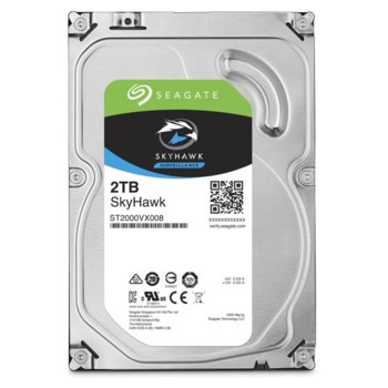 """Твърд диск 2TB Seagate SkyHawk, SATA 6Gb/s, 5400 rpm, 64MB, 3.5"""" (8.89 cm) image"""