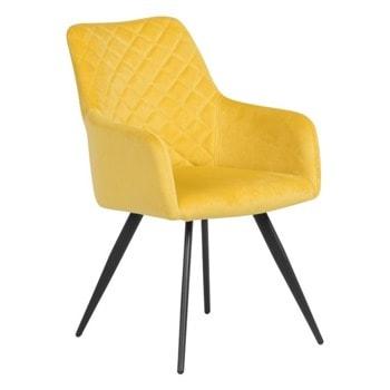 Трапезен стол Carmen Eton, до 100кг, дамаска, метална база, жълт  image