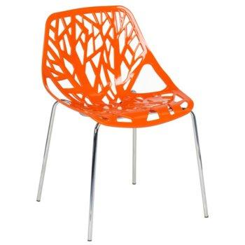 Трапезен стол Carmen 9911, пластмаса и хромирана основа и крака, оранжев image
