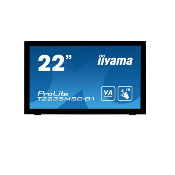 "Дисплей Iiyama T2235MSC-B1, тъч дисплей, 21.5"" (54.61 cm), Full HD, DisplayPort, VGA, DVI-D, USB image"