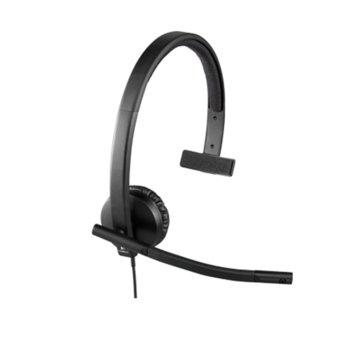 Слушалка Logitech Mono H570e (981-000571), моно, микрофон, USB, черна image