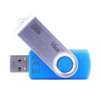 Памет 16GB USB Flash Drive, Goodram UTS2, USB 2.0, синьо/сребриста  image