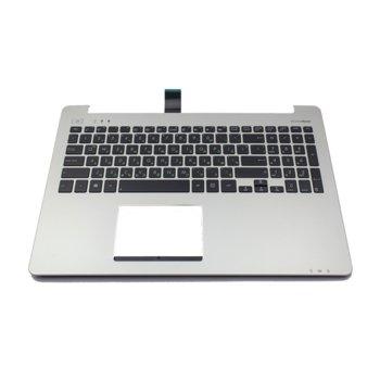 Клавиатура за лаптоп Asus, съвместима със севрия S551LB, US, с микрофон, сребърна/черна image