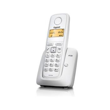 Безжичен телефон Gigaset A120,течнокристален черно-бял дисплей, бял image
