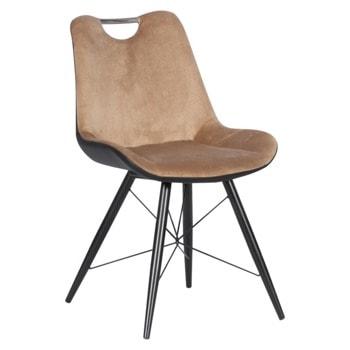 Трапезен стол Carmen PENZA, до 100кг. макс. тегло, дамаска/еко кожа, метална база, бежов image