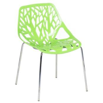 Трапезен Стол Carmen 9911,пластмаса и хромирани основа и крака, зелен image