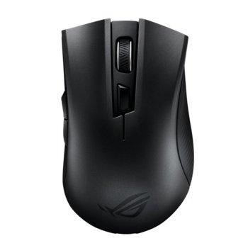 Мишка Asus ROG Strix Carry, гейминг, безжична (RF 2.4GHz & Bluetooth 5.0), оптична (7200dpi), USB, черна, Aura Sync RGB подсветка image