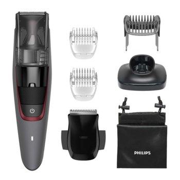 Тример Philips Beardtrimmer Series 7000, ножчета от неръждаема стомана, 20 настройки за дължина, до 75 минути време на работа, сив image