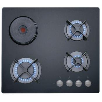 Газов плот Teka HF Lux 60 3G 1P AI AL, 4 нагревателни зони от които 1 електрическа плоча, стъклокерамика, механично управление, автоматично възпламеняване, автоматично спиране на притока на газ, чугунени поставки, черен image