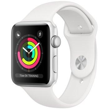 Смарт часовник Apple Watch Series 3 GPS 38mm, 312 x 390 pix OLED Retina дисплей, 8GB памет, Wi-Fi, Bluetooth, Watch OS, водоустойчив, сребрист с бяла каишка image