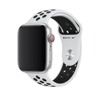 Каишка за смарт часовник Apple Watch (44mm) Nike Band:Pure Platinum/Black Nike Sport Band - S/M & M/L, бяла image