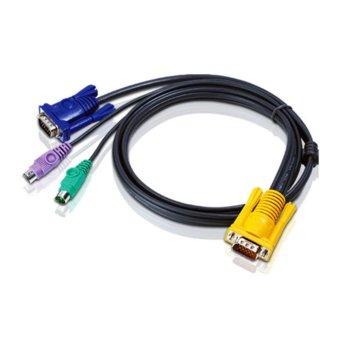 KVM кабел ATEN 2L-5203P , SPHD15(м) към 2x PS2(м) + VGA(м), 3.0 м image