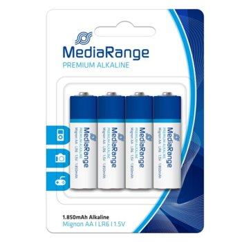 Батерии алкални MediaRange Premium MRBAT104 LR6, 1.5V, 1850mAh, 4бр. image