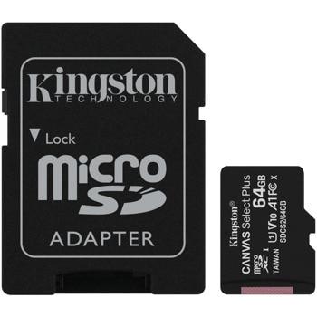 Карта памет 64GB MicroSDXC с адаптер, Kingston, Class 10 UHS-I, скорост на четене 100MB/s, скорост на запис 85 MB/s image