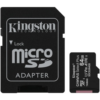 Карта памет 64GB MicroSDXC с адаптер, Kingston, Class 10 UHS-I, скорост на четене 100MB/s image