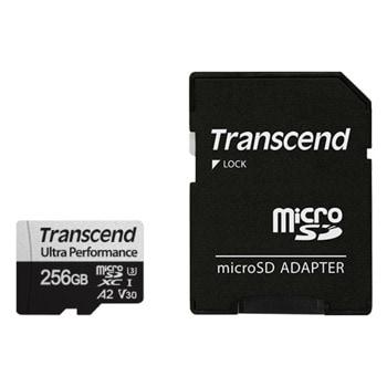 Карта памет 256GB microSDHC с адаптер, Transcend 340S, UHS-I U3, скорост на четене 160MB/sec, скорост на запис 125MB/sec image