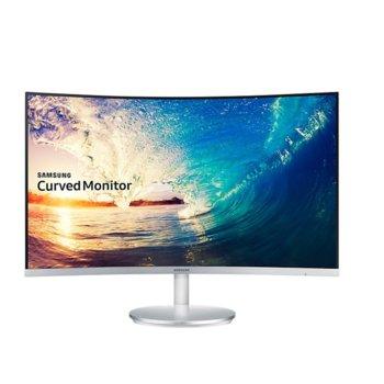 """Монитор Samsung C27F591FDUX, 27"""" (68.58 cm) VA панел, Full HD Curved, 4ms, 250 cd/m2, HDMI, DisplayPort, Сребрист/Бял image"""