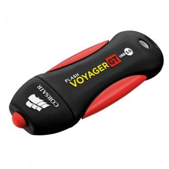 Памет 128GB USB Flash Drive, Corsair Voyager GT, водоустойчива, USB 3.0, черна/червена image