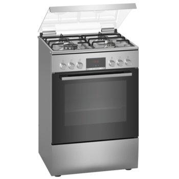 Готварска печка Bosch HXN39BD50, клас A, 66л. обем, 4 газови котлона, LED-дипслей, EcoClean, 3D горещ въздух, таймер-програматор, инокс image