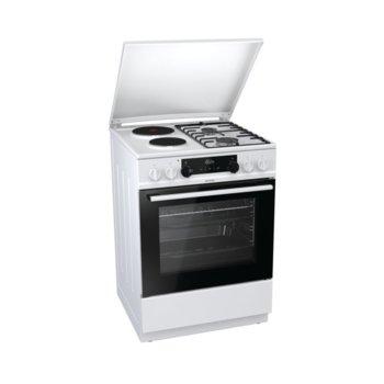 Готварска печка Gorenje K6351WF, клас А, 4 нагревателни зони (2 газови), 67 л. обем, AquaClean почистване, бяла  image