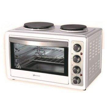 Печка с котлони Rohnson R 2128, 3300W, 28л., механично управление, светлинни индикатори за фурната и котлоните, бяла image