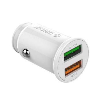 Зарядно устройство Orico UPZ-2U-WH, от автомобилна запалка към 2x USB Type A(ж), 12V, 3A, бял, Quick Charge 3.0 image