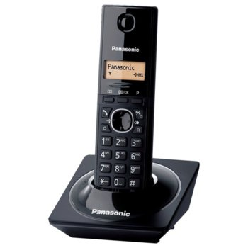 Безжичен телефон Panasonic KX-TG1711, течнокристален черно-бял дисплей, черен image